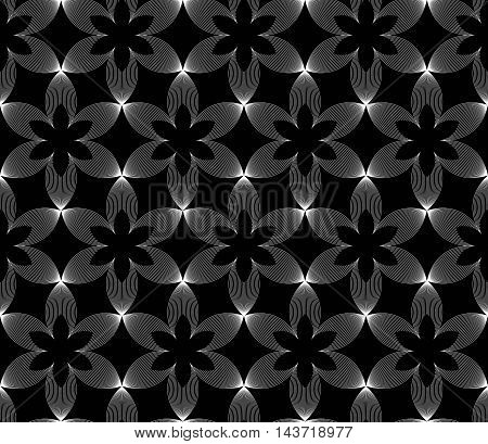 Seamless background with abstract flowers. Geometric ornament pattern with repeating elements.