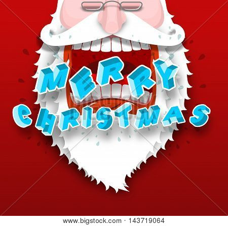 Santa Claus Yelling Merry Christmas. Joyful Grandfather With Big White Beard. Loud Congratulates. Il