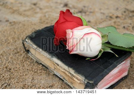 Old Black Book on Beach Sand with Roses on it.