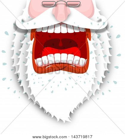 Furious Santa Claus. Anger Santa With Big White Beard. Cursing And Swearing. Flying Drooling. Scary