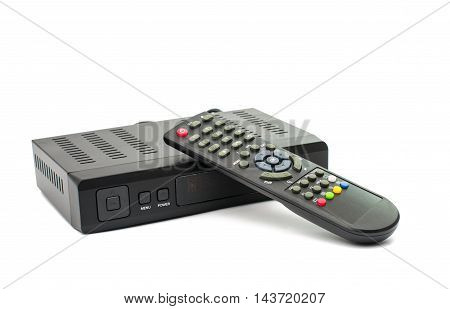 The satellite tuner on a white background
