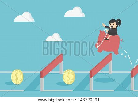 jumping over hurdle Business concept cartoon illustration