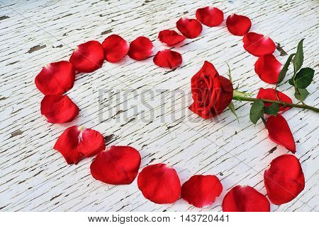 Red rose petals in the shape of a heart surrounding a red rose