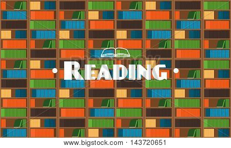 Flat style library background with books. Vector illustration
