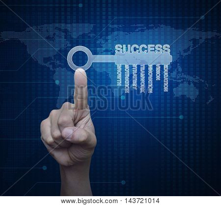 Hand pressing key with business words over digital world map technology style Success business concept Elements of this image furnished by NASA
