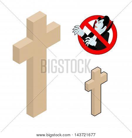 Wood Cross, Crucifix Against Vampires. Ban Dracula. Anti Vampire Tool. Destruction And Extermination