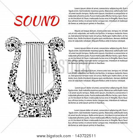 Musical poster. Music, philharmonic, opera, concert leaflet or brochure template for placard, book, catalogue, announce, exhibition. Harp symbol made of musical notes, staff treble clefs