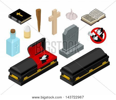 Dracula In Coffin. Vampire Count In Black Casket. Anti Vampires Tools. Set For Extermination And Des