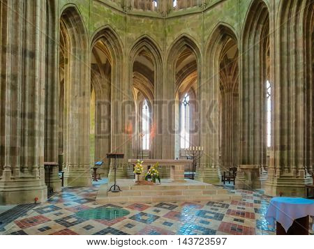 MONT SAINT-MICHEL, FRANCE - MAY 04, 2014: Interior of the Mont Saint-Michel Abbey, France