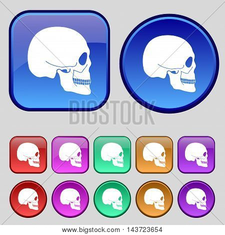 Skull Icon Sign. A Set Of Twelve Vintage Buttons For Your Design. Vector