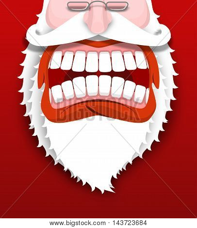 Aggressive  Santa Claus Shouts. Unhappy Santa With Big White Beard. Cursing And Swearing. Flying Dro