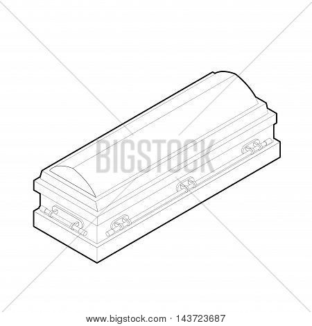 Coffin In Linear Style. Wooden Casket For Burial. Red Hearse. Religious Illustration
