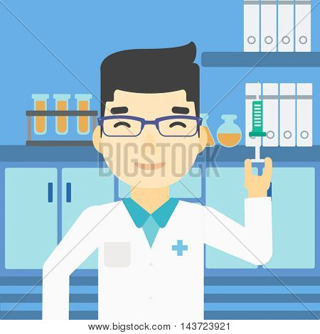 An asian laboratory assistant holding syringe. Laboratory assistant with syringe in a laboratory. Laboratory assistant making medical test. Vector flat design illustration. Square layout.