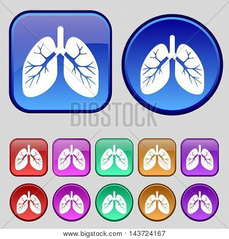 Lungs Icon Sign. A Set Of Twelve Vintage Buttons For Your Design. Vector