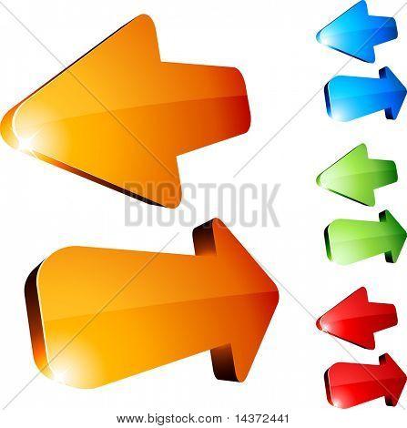 Set of return arrows. Vector.