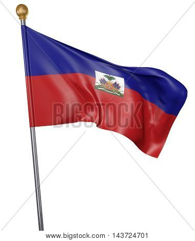 National flag for country of Haiti isolated on white background, 3D rendering