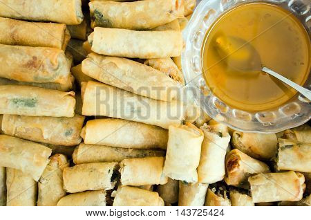 Spring Roll With Pork, Fried Shrimp Sweet Sauce - Traditional Vietnamese Food