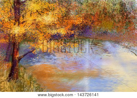 Oil painting landscape - colorful autumn trees. Semi abstract image of forest trees with yellow - red leaf and lake. AutumnFall season nature background. Hand Painted landscape Impressionist style