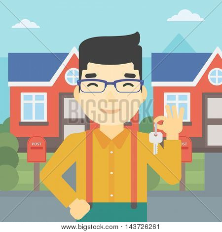 An asian young male real estate agent holding key. Man with keys standing in front of the house. Happy new owner of a house. Vector flat design illustration. Square layout.