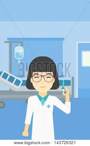 An asian female doctor holding medical injection syringe. Doctor with syringe in hospital ward. Doctor holding a syringe ready for injection. Vector flat design illustration. Vertical layout.