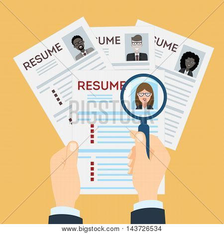 woman resume with magnifier at the table. Cv resume concept. Finding a worker. Apply for a job. Business opportunity. Cv profile.