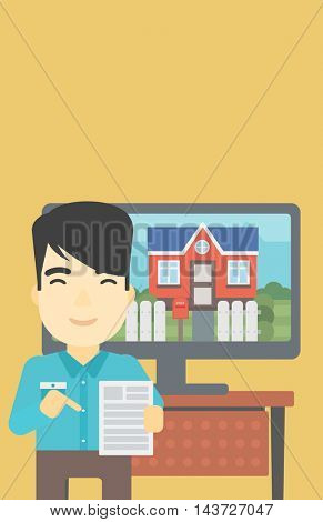 An asian man standing in front of tv screen with house photo on it and pointing at a real estate contract. Concept of signing of real estate contract. Vector flat design illustration. Vertical layout.