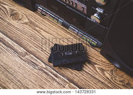 Old and retro music player and audio cassettes