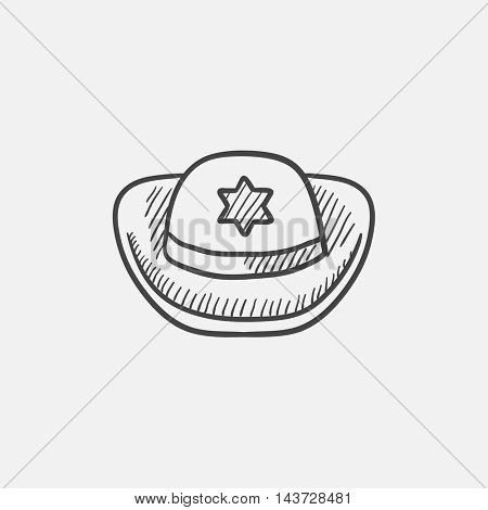 Sheriff hat sketch icon for web, mobile and infographics. Hand drawn vector isolated icon.