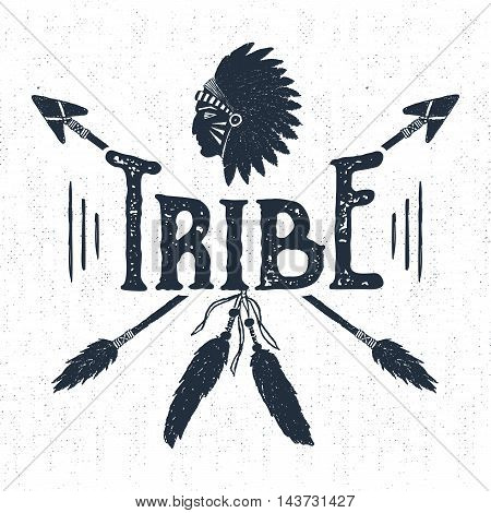 Hand drawn tribal label with textured headdress and arrows vector illustration and