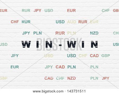 Business concept: Painted black text Win-Win on White Brick wall background with Currency
