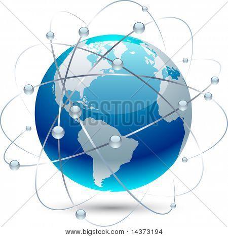 Globe icon with orbits. Vector.