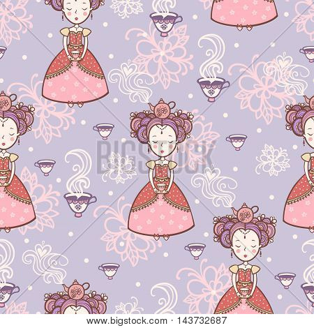 Vintage romantic seamless pattern with princesses. Tea time.