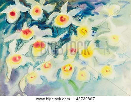 Abstract watercolor original painting white,red color of orchid flowers and blue color background.