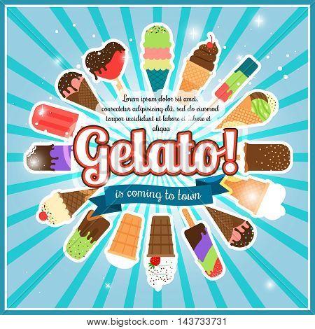 Ice cream burst retro advertising poster vector illustration