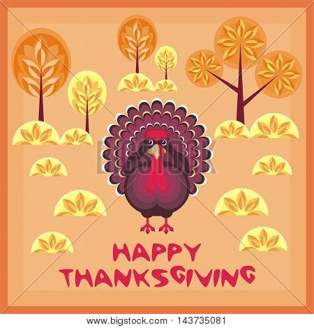 thanksgiving greeting card with the image of a big beautiful Turkey