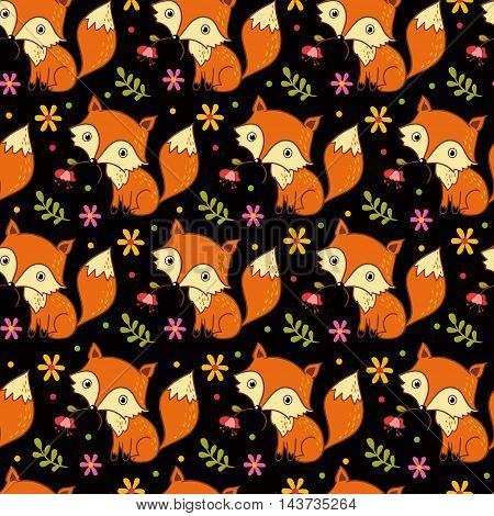 Cute background with cartoon fox and flowers. Childish vector background.