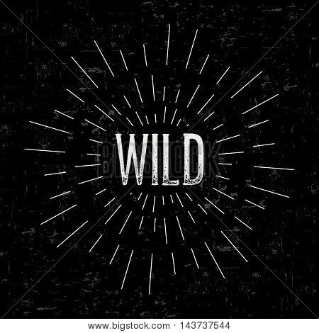 Abstract creative vector design layout with text - wild. Vintage concept background, art template, retro elements, logo, labels, layout, badge, old banner, card. Hand made typography word.