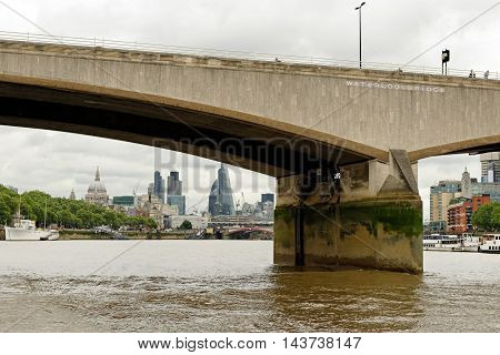 Waterloo bridge in London England. Its name commemorates the victory of the British the Dutch and the Prussians at the Battle of Waterloo in 1815.