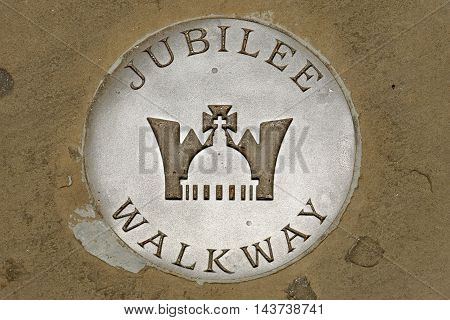 Jubilee walkway sign, The Thames River north bank, London, UK