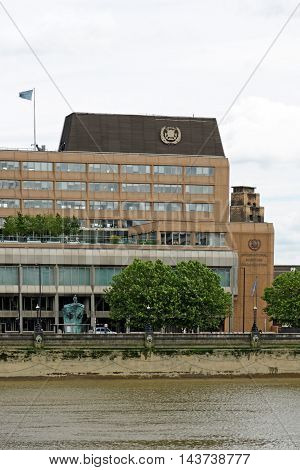 LONDON UK - JULY 8 2016: The building of the International maritime organization a specialised agency of the United Nations responsible for regulating shipping.
