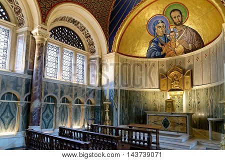 LONDON ENGLAND - JULY 8 2016: The Chapel of St. Joseph in Westminster Cathedral. The Chapel is dedicated to the husband of Mary Joseph.