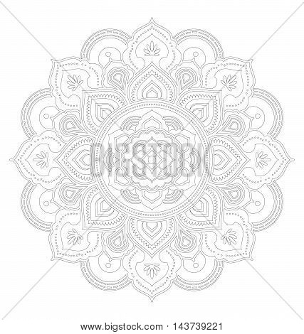 Tibetan mandala decorative ornament design for adult coloring page. Vector illustration