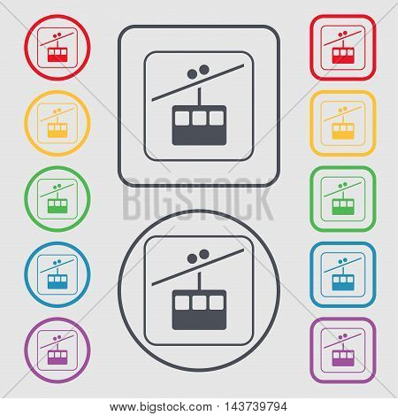 Cable Car Line Icon Sign. Symbol On The Round And Square Buttons With Frame. Vector