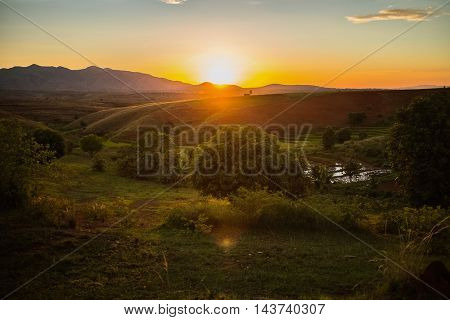 View of the Madagascar's landscape at sunset