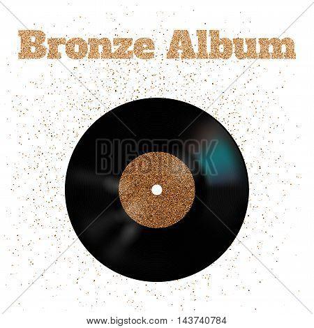 Vector illustration of bronze metal vinyl disk