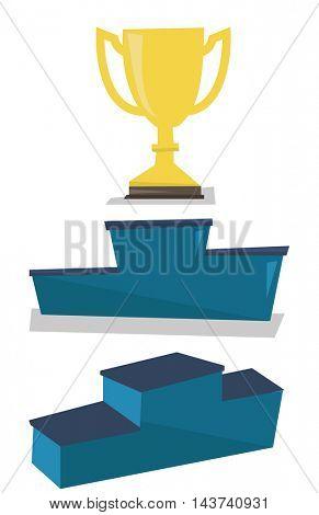 Gold trophy on pedestal vector flat design illustration isolated on white background.