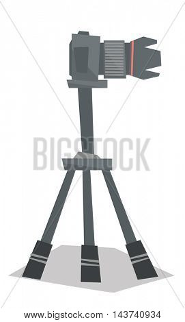 Side view of photo camera on tripod vector flat design illustration isolated on white background.