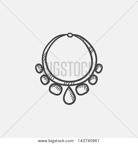 Necklace with gems  sketch icon for web, mobile and infographics. Hand drawn vector isolated icon.