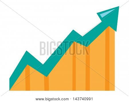 Arrow pointing upwards. Concept of business success. Business presentation. Vector flat design illustration isolated on white background.