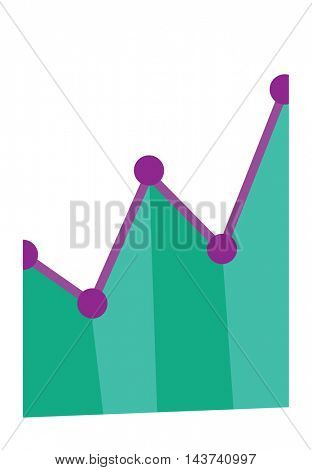 Business graph going up. Concept of business success. Business presentation. Vector flat design illustration isolated on white background.